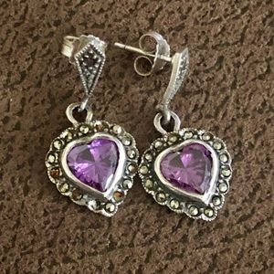 STERLING SILVER, marcasite, and amethyst earrings!